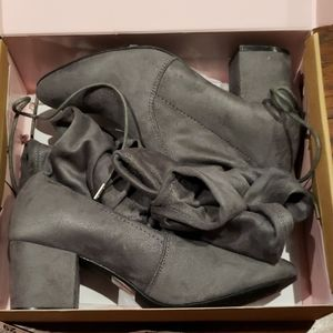 NWT Charlotte  Russe  suede boots gray color size8